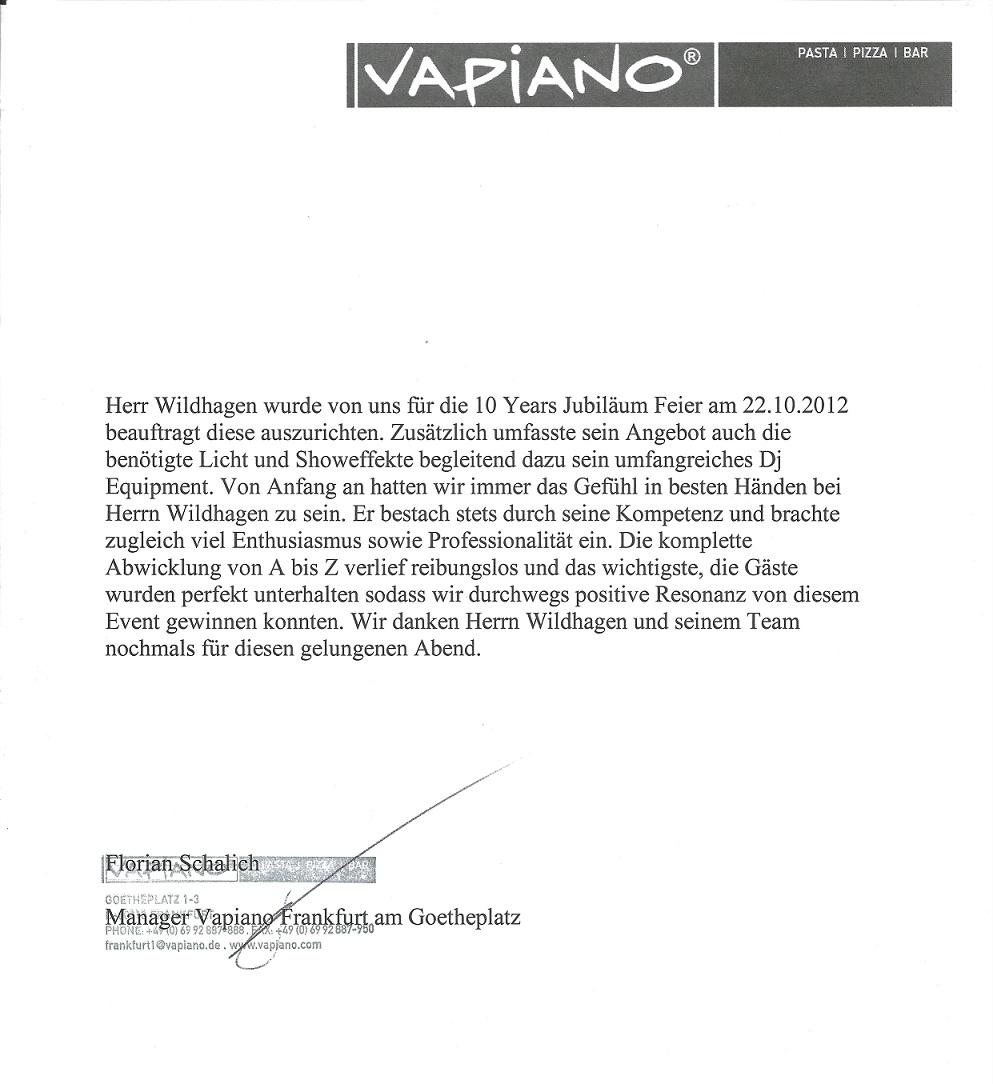 Referenzschreiben Vapiano